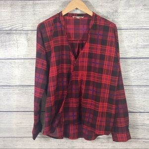 Olive & Oak red plaid wrap front top size large